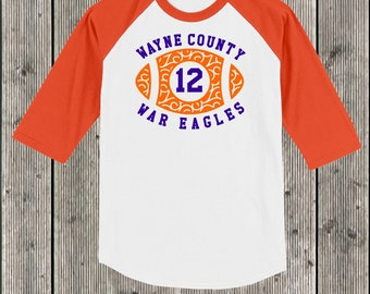 Personalized School Swirly football T shirt 3/4 sleeve baseball style raglan.  Your choice of sleeve color and print color.