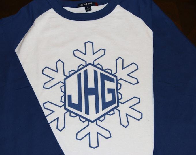 Snowflake Christmas 3/4 length sleeve baseball raglan t-shirt Digital Print (No FADING) Monogram