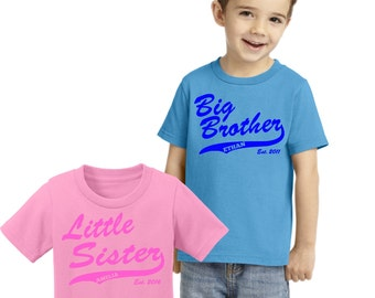 PERSONALIZED SIBLINGS SET of 2 with athletic swish : big/little brother; big/little sister, includes year of birth. ch