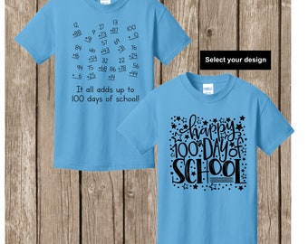 100th Day of School T shirt - either numbers that add up to 100 or Happy 100th Day of School YOUTH  EXTRA SMALL aquatic blue T shirt
