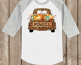 Vintage Antique Truck PERSONALIZED Autumn Thanksgiving Pumpkin cheetah print Fall Farm T shirt 3/4 sleeve baseball style raglan sev. colors