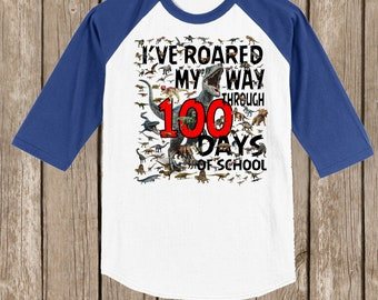 Clearance white with royal sleeves youth small 100th Day of School Raglan baseball style T Shirt I've roared my way through 100 days