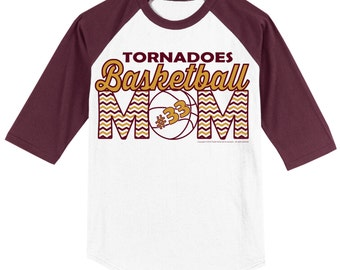 Personalized Basketball Mom T Shirt Raglan Your Choice of Print, Shirt Color, Team Name