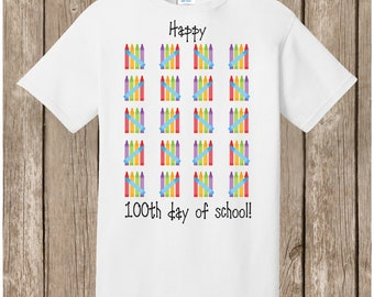 100th Day of School T Shirt white.  100 crayons in tally marks.  Celebrate 100 days of school!  Ships very quickly