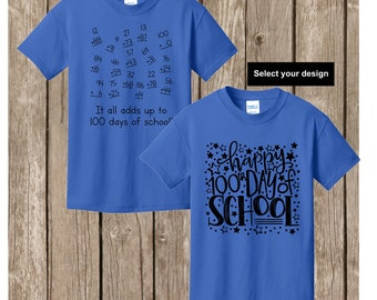 100th Day of School T shirt - either numbers that add up to 100 math shirt or Happy 100th Day of School YOUTH SMALL royal T shirt