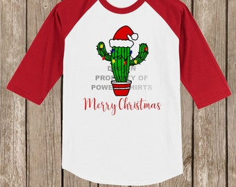 CLEARANCE Cute Cactus Merry Christmas T shirt 3/4 sleeve baseball style raglan - several colors available