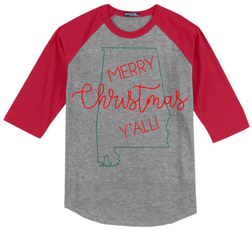 alabama merry christmas yall t shirt 34 sleeve baseball style raglan several colors available