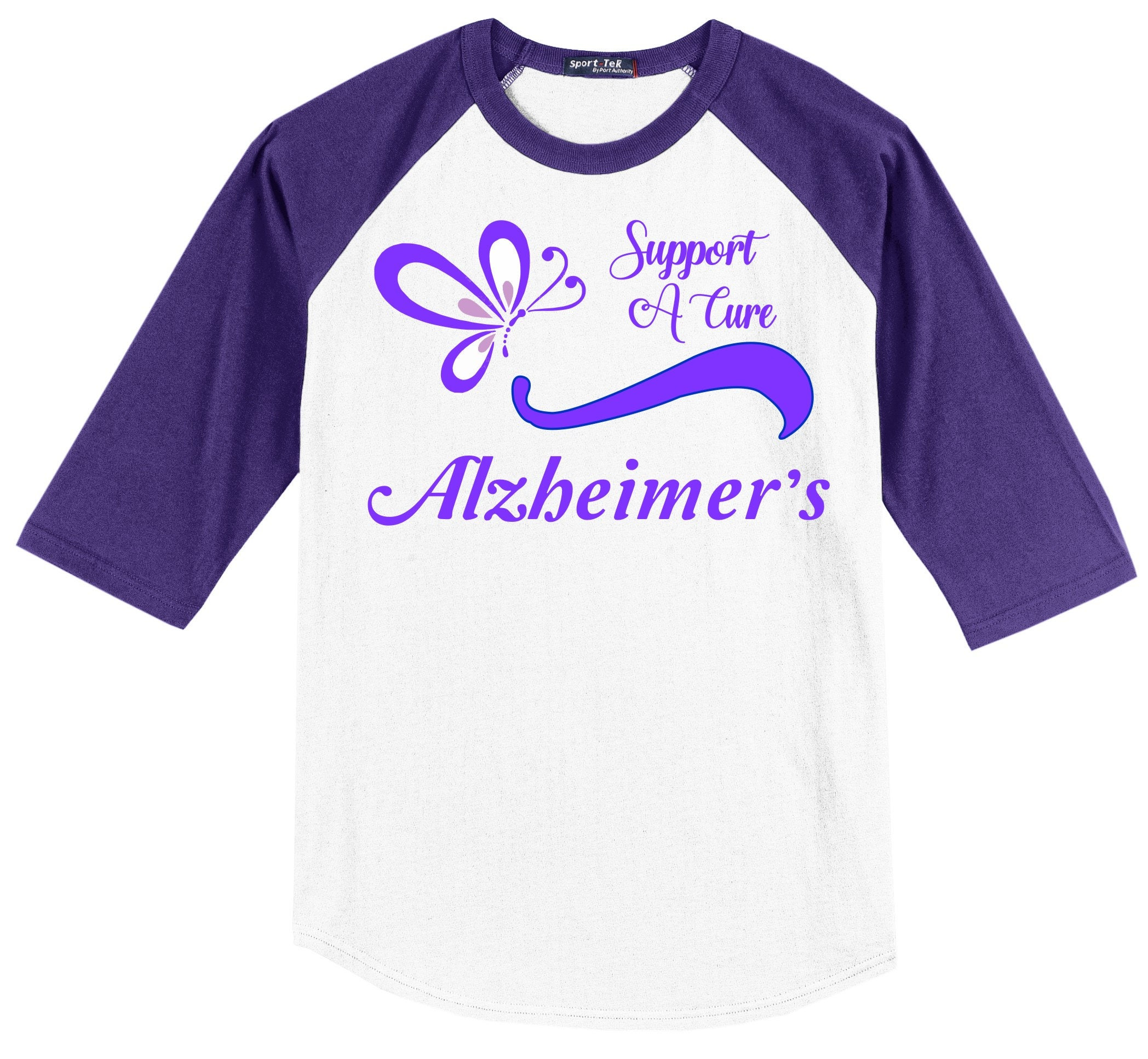 e17325595f7 Alzheimer's Awareness Raglan T shirt (3/4 sleeve) - Support A Cure ...