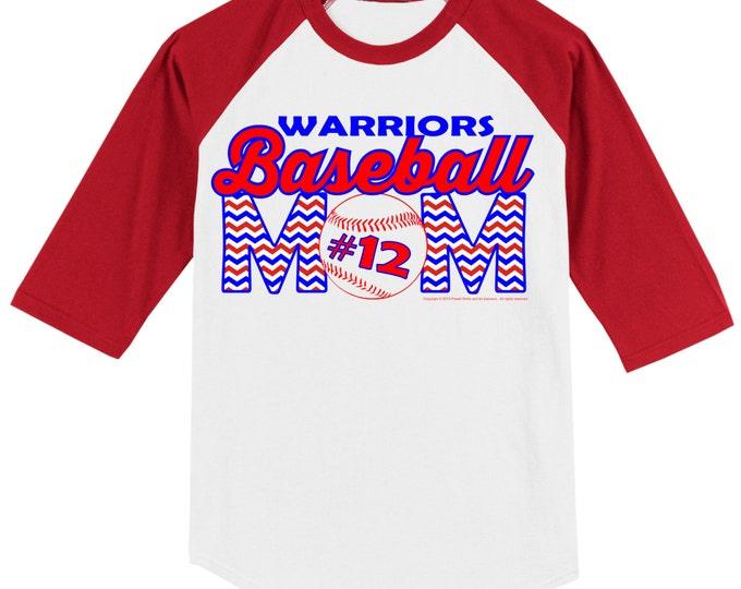 Personalized Baseball Mom T Shirt Raglan Your Choice of Print, Shirt Color, Team Name