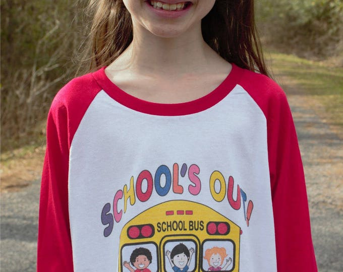 School's Out Raglan T shirt 3/4 length sleeve baseball style bk of school bus with children waving bye -several clrs ADULT or CHILDREN SIZES