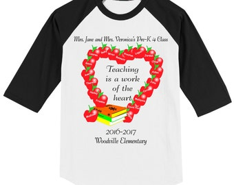 Teacher School Raglan T Shirt several sleeve color optns Teaching is a work of the heart personalized w/ CHILDREN'S NAMES, class name, year