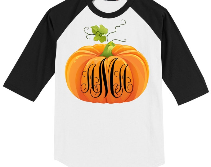 Fall Thanksgiving T shirt - 3/4 sleeve baseball style raglan - Pumpkin Monogram - INFANT and TODDLER SIZES - Celebrate Autumn!