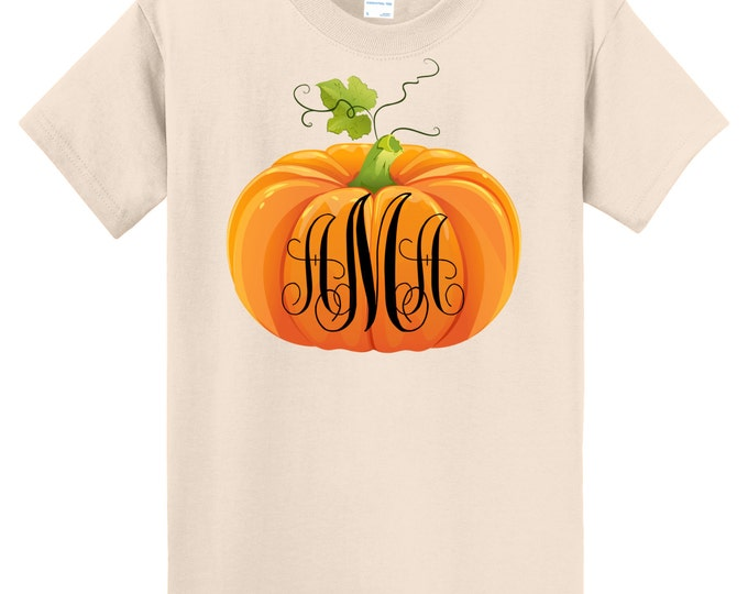 Fall Pumpkin Thanksgiving T Shirt Monogrammed  - Sizes 6 Months Through Youth Large - Celebrate Autumn!