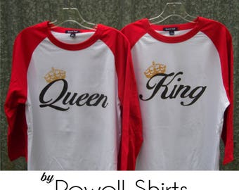 King and Queen - T Shirt/Raglan Coordinating Set 2 shirts for couples/engagement announcement T shirts Together Since (or name) YOUR yr-back