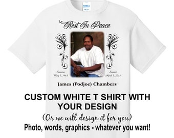 TWO Completely customized PHOTO T shirt - personalize it with your photo, text, graphics - or let us design it for you! Designs must be same