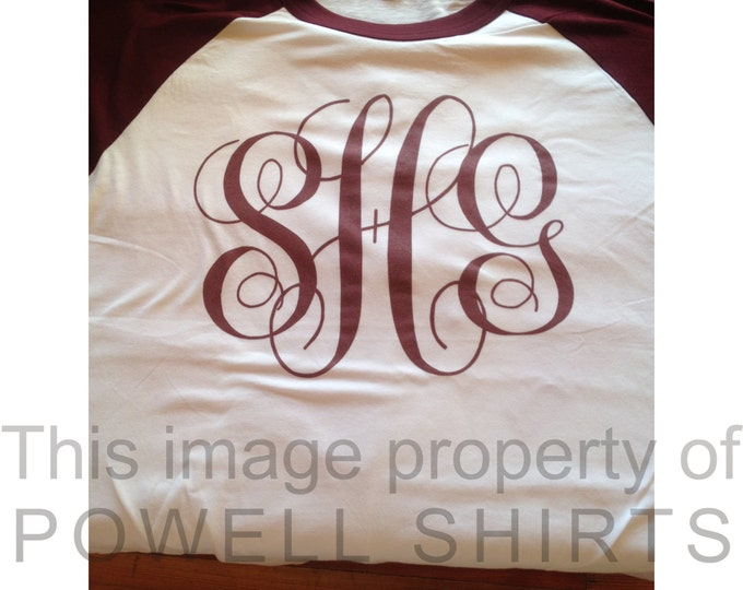 Personalized Custom Monogrammed Raglan 3/4 sleeve T shirt many colors available