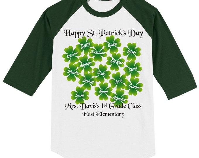 St. Patrick's Day Personalized Teacher - Class School Raglan T Shirt Happy St. Patrick's Day w/ CHILDREN'S NAMES, opt class-school name name