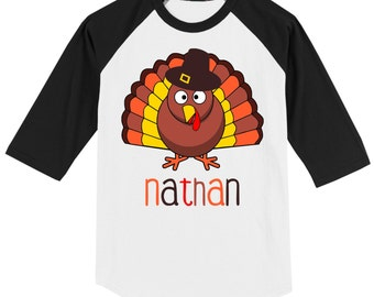 Thanksgiving T shirt with cute turkey - 3/4 sleeve baseball style raglan, customized with name
