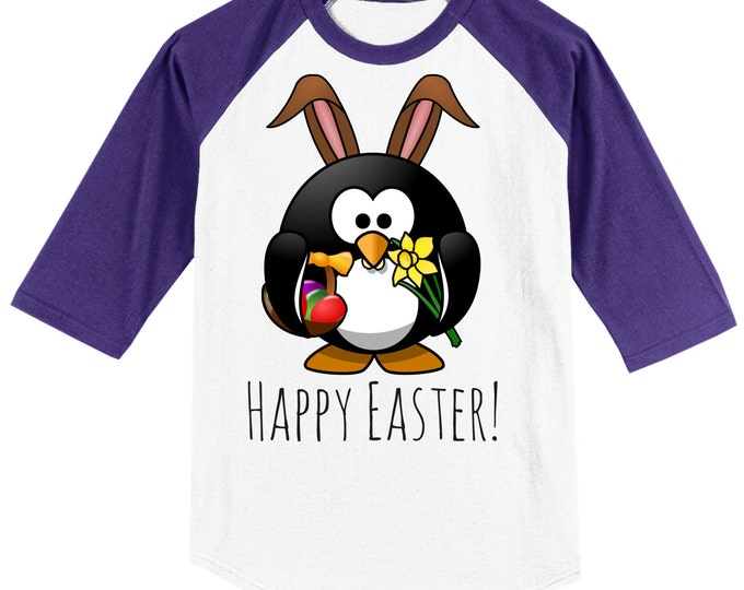 Say Happy Easter T Shirt Raglan - 3/4 sleeve baseball style - from this adorable PENGUIN BUNNY! Several sizes and color options available