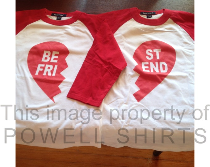 Best Friends Valentine (or any occasion!) Heart Raglan Baseball Style T Shirt white/red sleeves 0-3month Adult Sizes Coordinating Family Set