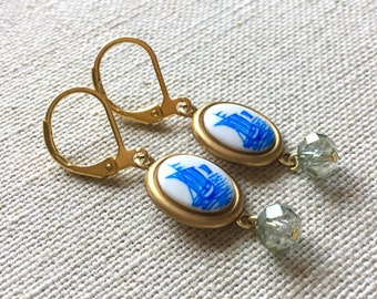 Sailboat Drop Earrings - Vintage Japanese Nautical Ship Cabochons with Sparkly Grey-Blue Crystal Rondelles  and Gold Leverback Hooks