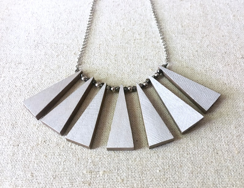 Ready to Ship Reversible Geometric Statement Necklace Painted Wood Jewelry Silver and Gunmetal Collar Edgy Accessories For Her