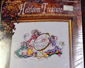 Heirloom Treasures  Mice Stitching  Counted Cross Stitch  Embroidery  Kit