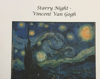 Starry Night--Vincent Van Gogh Cross Stitch by Scarlet Quince....Fine Art Cross Stitch