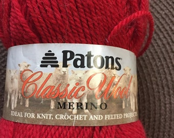 Patons Classic Wool Merino Yarn Bright Red Color