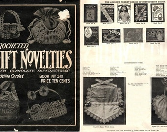 Crocheted Gift Novelties Book No. 6 Amazing Patterns! 1916