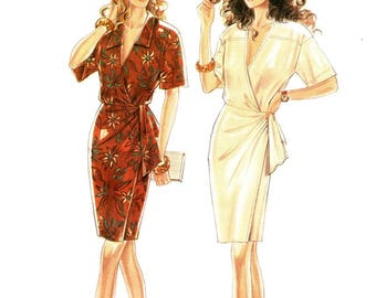 Simplicity 6066 Very Becoming Wrap Dress / 1990's SZ8-18 UNCUT