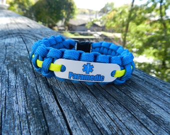 Paramedic jewelry gift, 550 paracord bracelet for men or women, Gifts for EMS week celebrations, Bulk orders welcome for graduation class