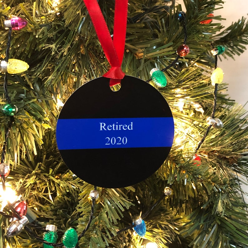 Meaningful gift idea Thin Blue Line Law enforcement gift Shatterproof holiday decor K9 Police ornament personalized