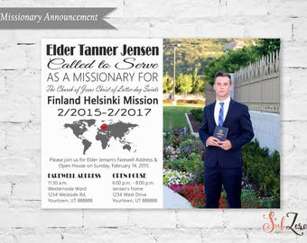 """LDS Missionary Farewell or Homecoming Announcement/Invitation with Photo - 5x7 Printable Card """"Called to Serve"""" or """"Return with Honor"""""""