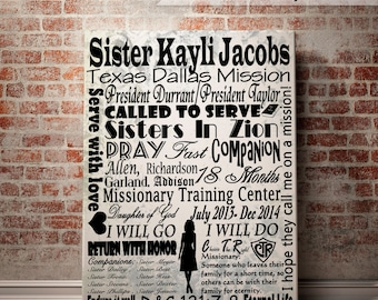 LDS Sister Missionary Subway Art Poster, Personalized with Name, Mission Served, and Date. Choose your size - 8x10, 11x14 or 16x20