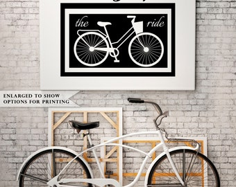 Enjoy the Ride - Vintage Bicycle Downloadable Print - 8x10 or 11x14 - Great as a Print or on Canvas -  INSTANT DOWNLOAD