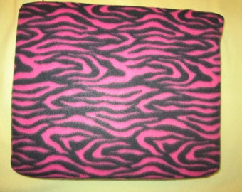 "Cushioned pet bed,good for pressure points, hypo allerginic padding,pink and black zebra fleece,15"" x 17"" x 3"",created in Duluth, Minnesota"