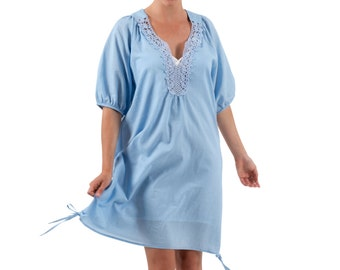 Beach Cover | Resort Dress | Cotton Smock | Bella, Blue by Spirituelle
