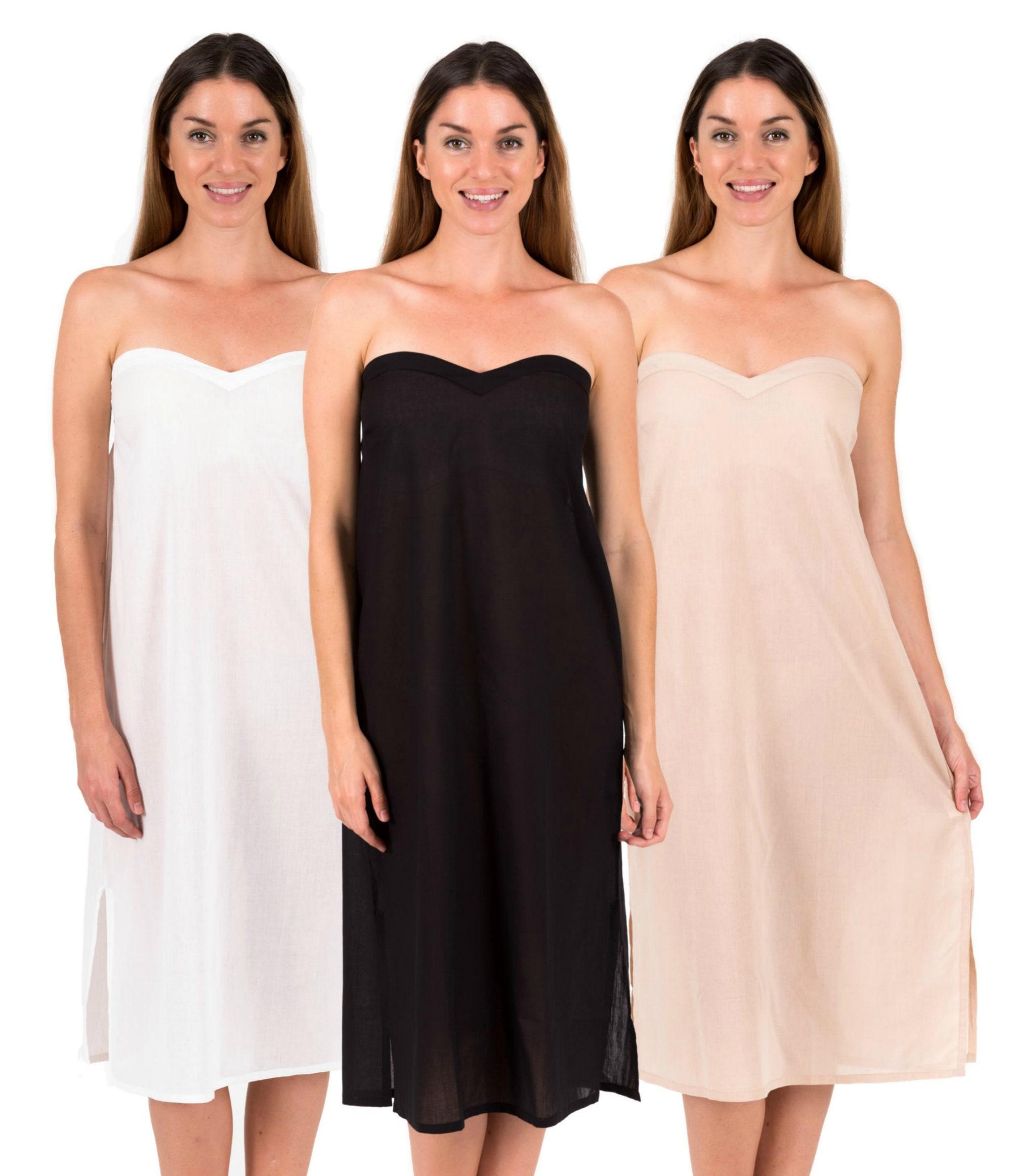 Strapless Dress Slip Long 100 Cotton Zara White Black