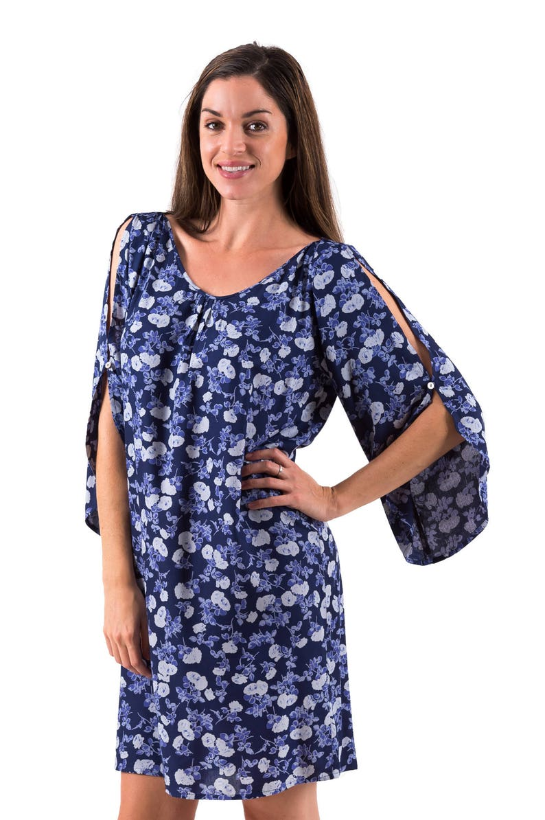 Open Sleeve  Women/'s Dress Mimi Floral Blues Cool Casual