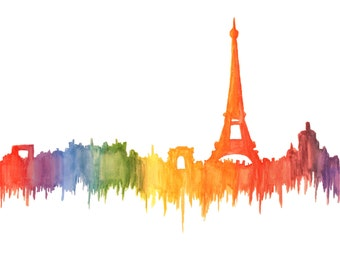 Paris Rainbow Watercolor Print