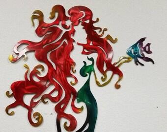 Mermaid Wall Art, Aluminum Mermaid, Metal Mermaid, Fish Metal Art, Ocean Metal Art, Beach House Decor, Metal Wall Art, Fantasy Art