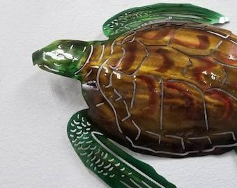 Metal Sea Turtle Wall Art, Sea Turtle Metal Art, Hand Hammered, Hand Airbrushed, Beach Decor, Beach House Decor, Patio Decor, Non Production