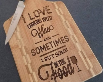 Cooking with Wine Bamboo Cutting Board for Housewarming Gift, Mother's Day Gift, or Unique Wedding Gift