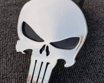 Chrome Punisher Trailer Hitch Cover or Tow Plug, Truck Accessories, Car Accessories, Steel Punisher Skull