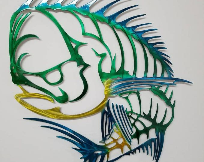 Mahi Mahi Wall Art, Metal Mahi Wall Art, Aluminum Wall Art, Skeleton Mahi, Metal Fish Wall Art, Outdoor Metal Sculpture, Mahi Metal Art