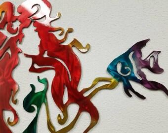 Aluminum Mermaid Metal Wall Art for Girls Room, Pool Deck, Beach House, or Restaurant
