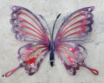 Four (4) Piece Metal Butterfly Wall Art Set, Butterfly Decor for Garden, Non Rust Aluminum Butterfly Decor, Butterflies for Girls Room