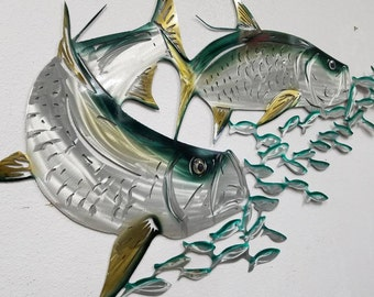 Aluminum Tarpon Metal Fish Wall Art, Tropical Decor with Green and Gold Hue, Gift for Fisherman or Dad