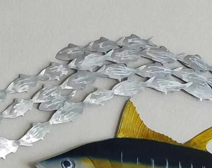 Metal Bait Fish, Metal Fish Art, Patio Decor, Pool Deck Art, Aluminum Fish, No Rust Outdoor Decor, Gift for Dad, Fisherman Gift